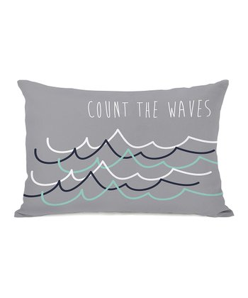 Gray 'Count the Waves' Throw Pillow