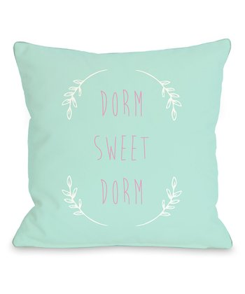 Aqua & Pink 'Dorm Sweet Dorm' Throw Pillow