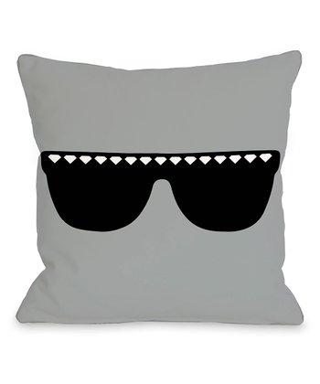 Gray & Black Diamond Sunglasses Throw Pillow