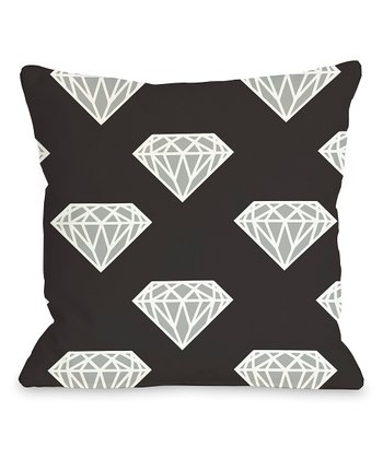 Black & Silver Diamond Throw Pillow
