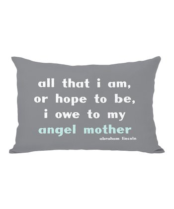 Gray & Aqua 'Angel Mother' Throw Pillow