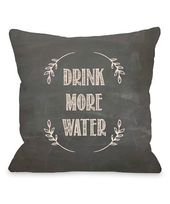 Black & Pink 'Drink More Water' Throw Pillow