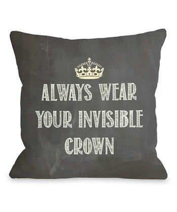 Black & White 'Invisible Crown' Throw Pillow