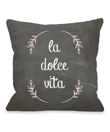 Gray & Pink 'La Dolce Vita' Throw Pillow