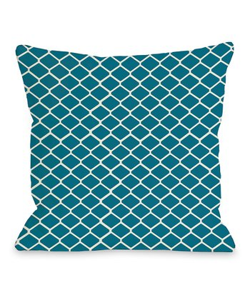 Blue & Green Linked Diamond Throw Pillow
