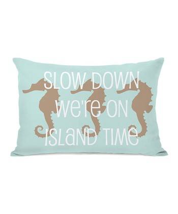 Aqua & Tan 'Slow Down' Rectangular Throw Pillow
