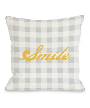 Gray & Mimosa 'Smile' Throw Pillow