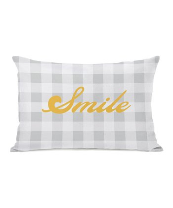 Gray & Mimosa 'Smile' Rectangular Throw Pillow