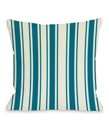 Blue & Green Winning Stripes Throw Pillow