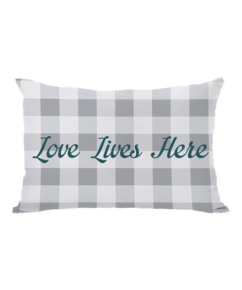 Gray & Deep Teal 'Love Lives Here' Gingham Throw Pillow