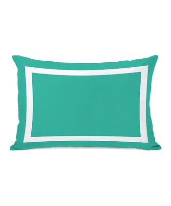 Turquoise & White Samantha Simple Rectangular Throw Pillow