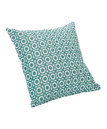 Cream & Blue Bullseye Throw Pillow