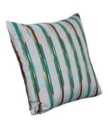 Gray & Turquoise Umbrella Stripe Throw Pillow