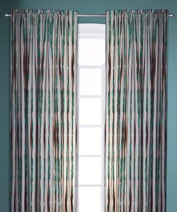 Gray & Turquoise Umbrella Stripe Curtain Panel