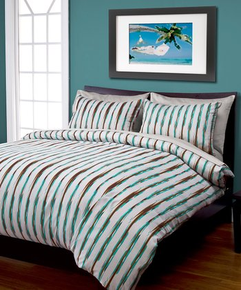 Gray & Turquoise Umbrella Stripe Duvet Cover Set
