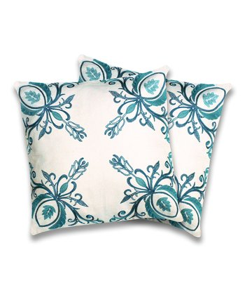 Turquoise Georgette Throw Pillow - Set of Two