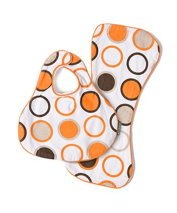 Orange Bug CoZi Drip & Drool Bib & Burp Cloth