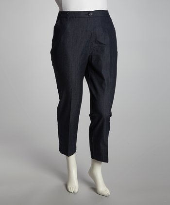 Navy Denim Pants - Plus