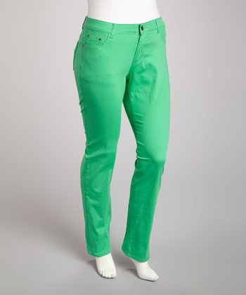 Green Straight-Leg Jeans - Plus
