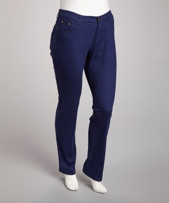 Navy Straight-Leg Jeans - Plus