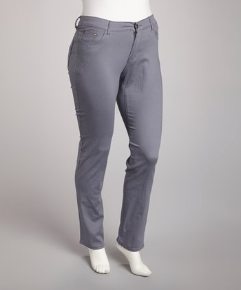 Gray Straight-Leg Jeans - Plus