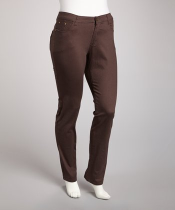 Brown Straight-Leg Jeans - Plus
