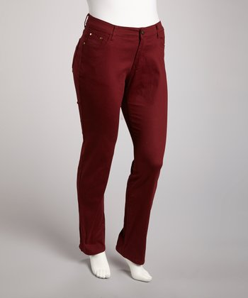Burgundy Straight-Leg Jeans - Plus
