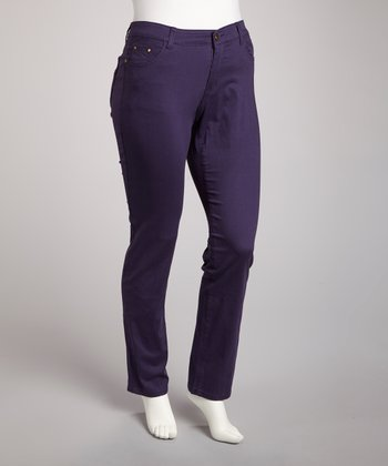 Purple Straight-Leg Jeans - Plus