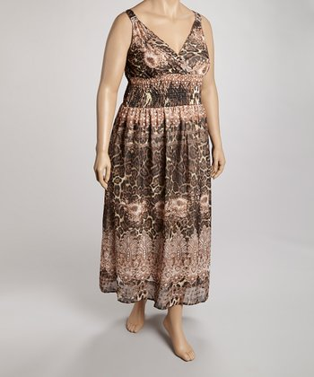 Brown Animal Surplice Dress - Plus