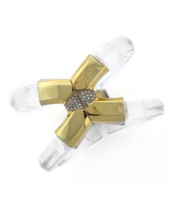 Clear & Gold Criss-Cross Lucite Hinge Bracelet