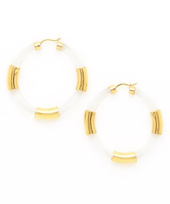 Gold & Clear Lucite Hoop Earrings