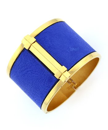 Blue & Gold Leather-Accent Hinge Bracelet