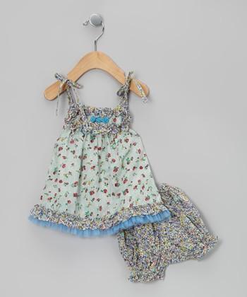 Ma Petite Amie Mint & Blue Floral Dress & Bloomers - Infant