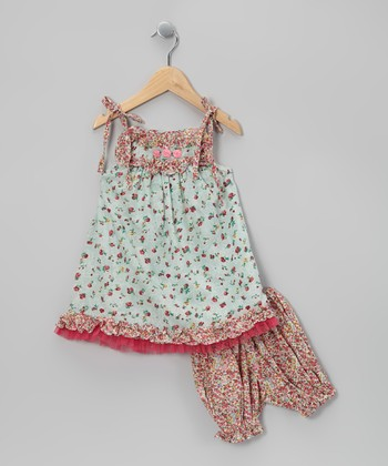 Ma Petite Amie Mint & Pink Floral Dress & Bloomers - Infant