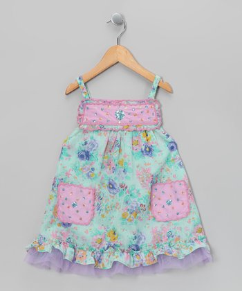 Ma Petite Amie Mint & Pink Sequin Beaded Scallop Dress - Toddler & Girls
