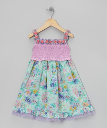 Ma Petite Amie Lilac & Mint Floral Lei Dress - Toddler & Girls