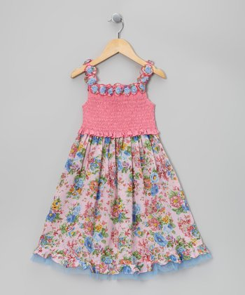 Pink & Blue Floral Lei Dress - Toddler & Girls