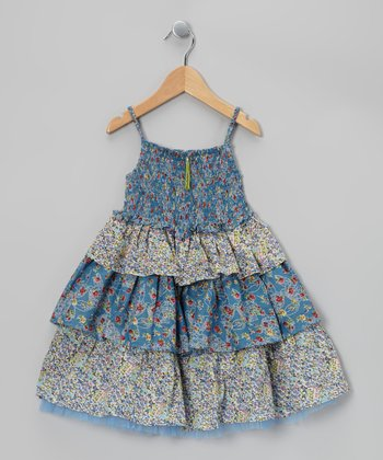 Blue & Yellow Ruffle Tiered Dress - Toddler & Girls