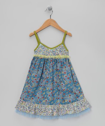 Blue & Yellow Beaded Party Dress - Toddler & Girls