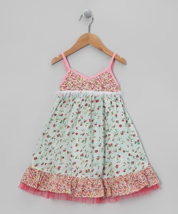 Pink & Mint Beaded Party Dress - Toddler & Girls