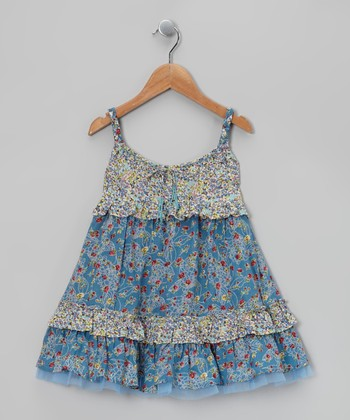 Blue Drawstring Beaded Swing Dress - Toddler & Girls
