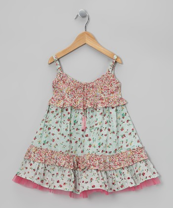 Pink & Mint Drawstring Beaded Swing Dress - Toddler & Girls