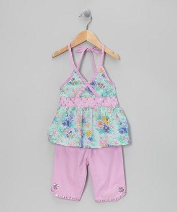 Ma Petite Amie Mint Sequin Beaded Halter Top & Capri Pants - Toddler & Girls
