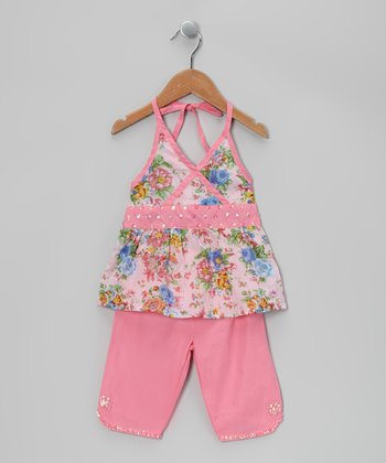 Ma Petite Amie Pink Sequin Beaded Halter Top & Capri Pants - Toddler & Girls
