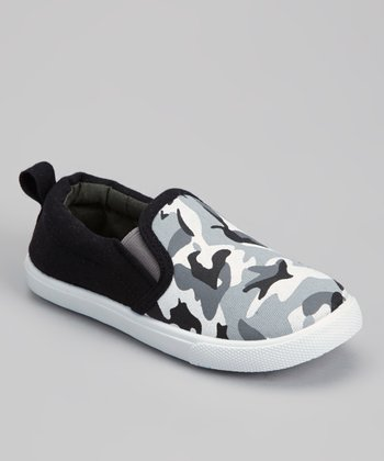 Black & Gray Camo Slip-On Sneaker