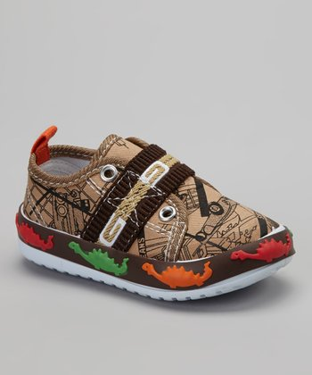 Brown Dinosaur Slip-On Sneaker