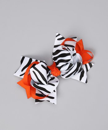 Zebra & Orange Bow Clip