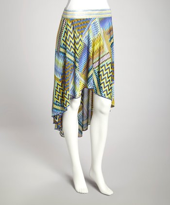 Blue & Yellow Hi-Low Skirt