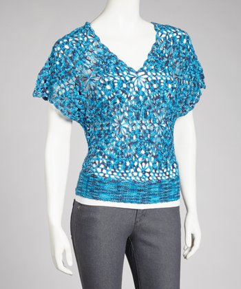 Blue V-Neck Crocheted Top