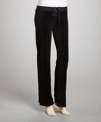Black Velour Crisscross Tie Lounge Pants